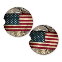 REALTREE CAMO AMERICAN FLAG SANDSTONE CAR COASTERS