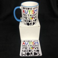 SOMEONE WITH AUTISM has taught me love needs no words gift set coffee mug 11 oz ceramic coffee mug gift set support AUTISM  gift set