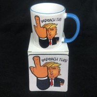 IMPEACH THIS Donald j trump giving the finger coffee mug trump 2020  11 oz ceramic coffee mug gift set kag make liberals cry