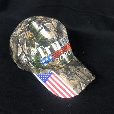 Trump 2020 camo 6 panel hat adjustable with american flag brim